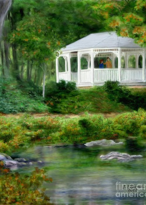 Riverside Greeting Card featuring the painting Riverside Gazebo by Judy Filarecki