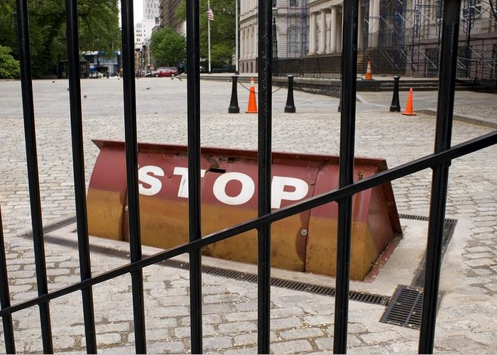 Anti-terrorism Greeting Card featuring the photograph Road Blocker At New York City Hall. by Mark Williamson