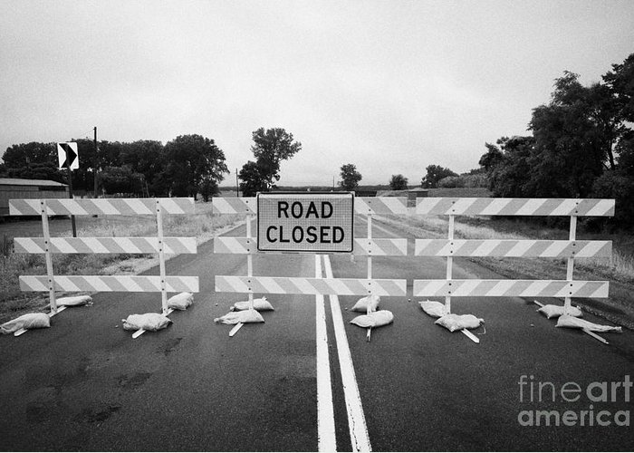 Road Greeting Card featuring the photograph Road Closed And Highway Barrier Due To Flooding Iowa Usa United States Of America by Joe Fox