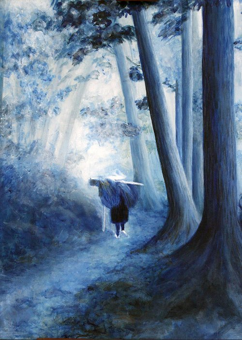 Trees Greeting Card featuring the painting Road Home by Donna Walsh