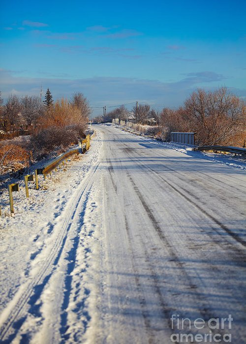 Snow Greeting Card featuring the photograph Road In Winter by Gabriela Insuratelu