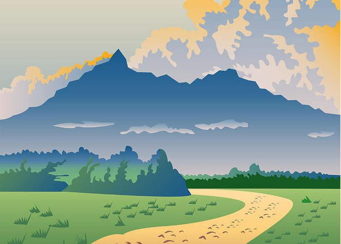 Illustration Greeting Card featuring the digital art Road Leading To Mountains by Aloysius Patrimonio