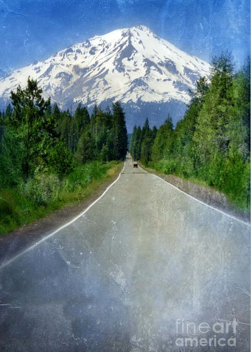 Snow Covered Mountain Greeting Card featuring the photograph Road Leading To Snow Covered Mount Shasta by Jill Battaglia