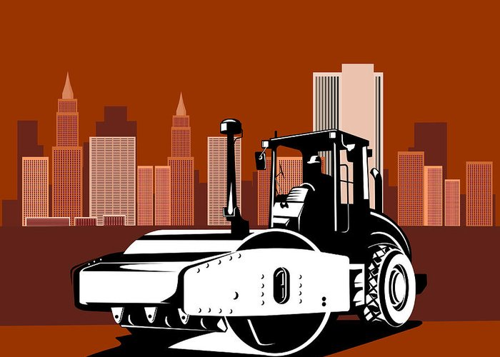 Road Roller Greeting Card featuring the digital art Road Roller Retro by Aloysius Patrimonio
