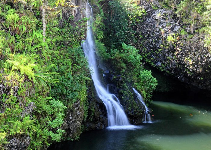 Road Greeting Card featuring the photograph Road To Hana Waterfall by Pierre Leclerc Photography