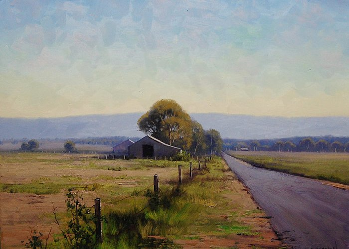 Farm Greeting Card featuring the painting Road To Richmond by Graham Gercken