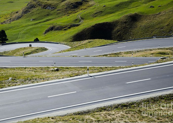Mountain Greeting Card featuring the photograph Road With Curves by Mats Silvan