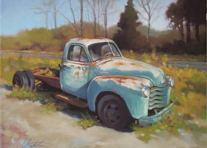 Chevy Greeting Card featuring the painting Roadside Relic by Todd Baxter