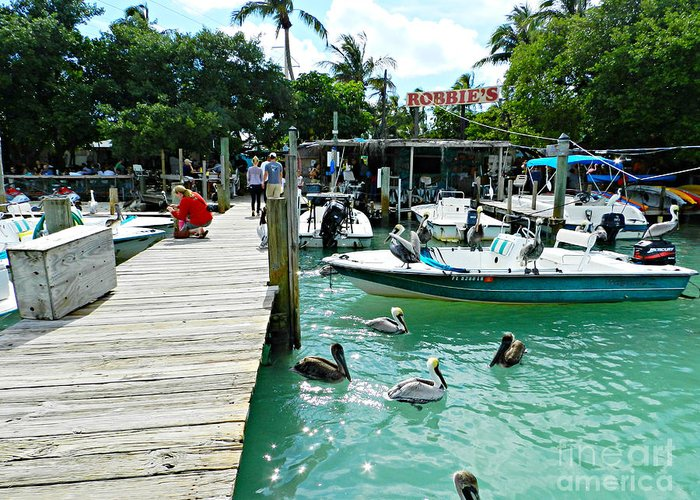 Robbie's Greeting Card featuring the photograph Robbies Of Islamorada by Tammy Chesney