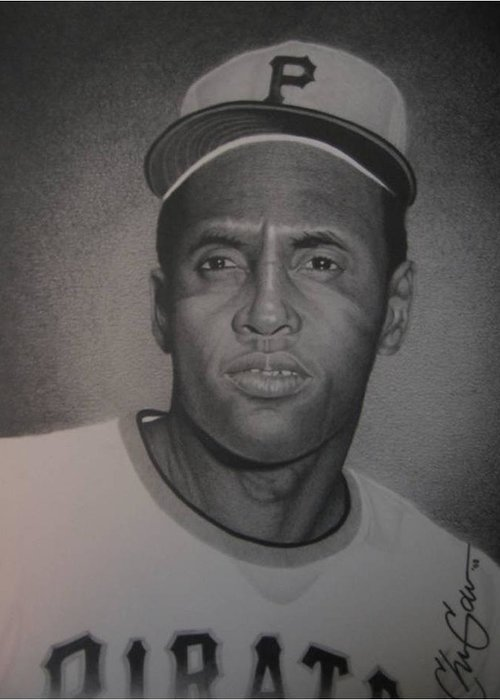 Portrait Greeting Card featuring the drawing Roberto Clemente by Christian Garcia