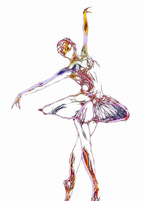 Ballet Ballerina Dance Dancing Princess Erotic Female Girl Woman Sexy Expressionism Wonderful Art Elegant Pretty Lovely Gracefully Painting Dancer Dream Electric Energy Dynamic Motion Love Lovers Dancers Abstract Robot Greeting Card featuring the digital art Robot Diva by Steve K