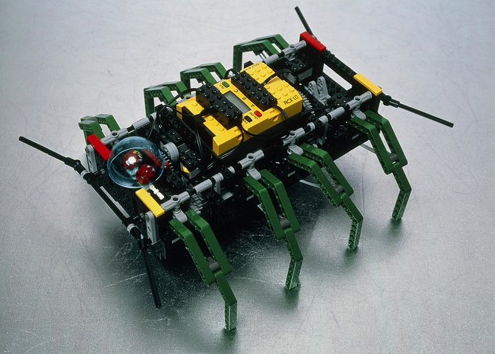 Robot Spider Greeting Card featuring the photograph Robot Spider Constructed From Lego by Volker Steger