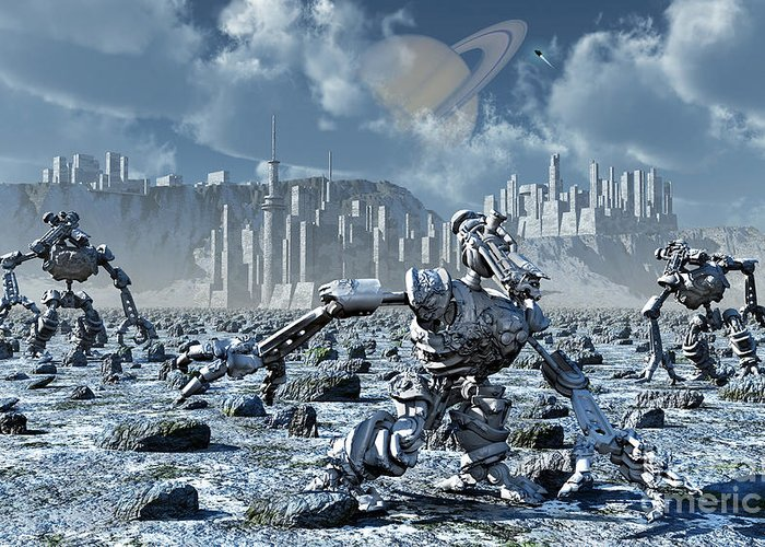 Digitally Generated Image Greeting Card featuring the digital art Robots Gathering Rich Mineral Deposits by Mark Stevenson