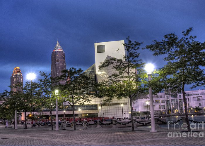 Cleveland Ohio Greeting Card featuring the photograph Rock And Roll Plaza by David Bearden