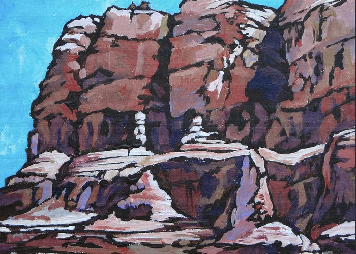 Sedona Greeting Card featuring the painting Rock Face by Sandy Tracey