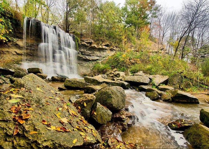 Hdr Greeting Card featuring the photograph Rock Glen Falls by Cale Best