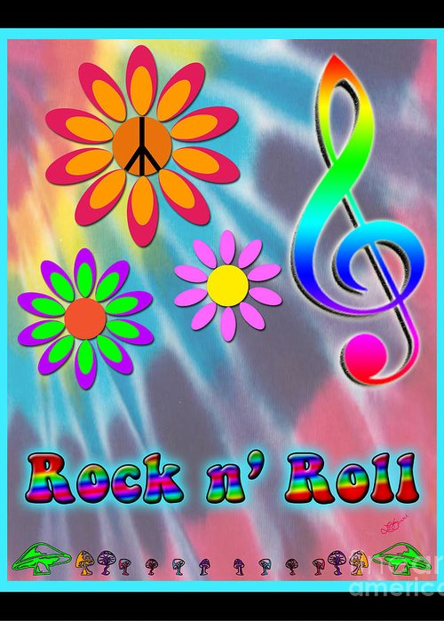 Flowers Greeting Card featuring the digital art Rock Music Poster by Linda Seacord