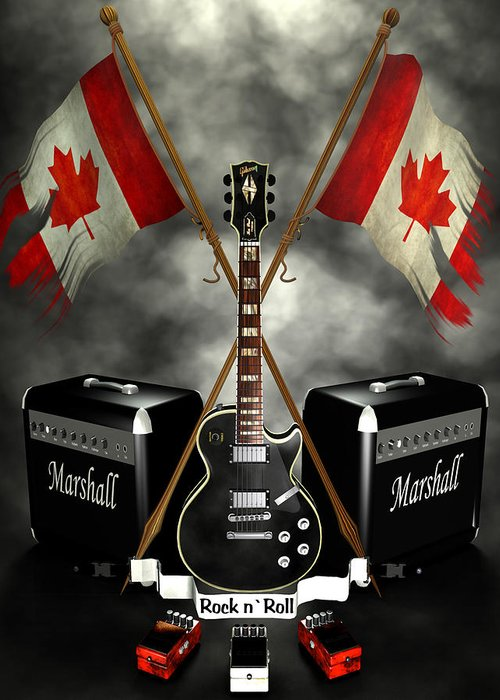 Crest Greeting Card featuring the digital art Rock N Roll Crest- Canada by Frederico Borges