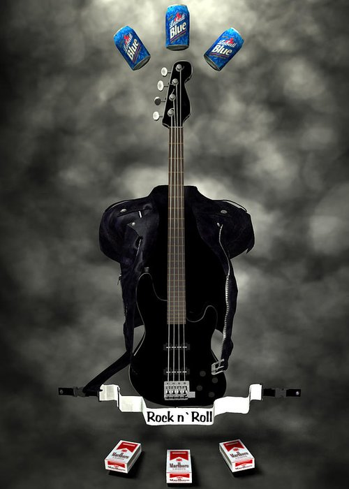 Rock N Roll Greeting Card featuring the digital art Rock N Roll Crest-the Bassist by Frederico Borges