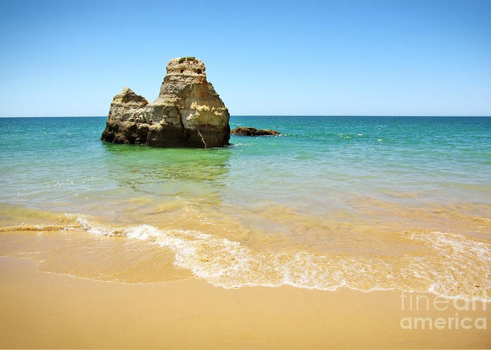 Algarve Greeting Card featuring the photograph Rock On Beach by Carlos Caetano