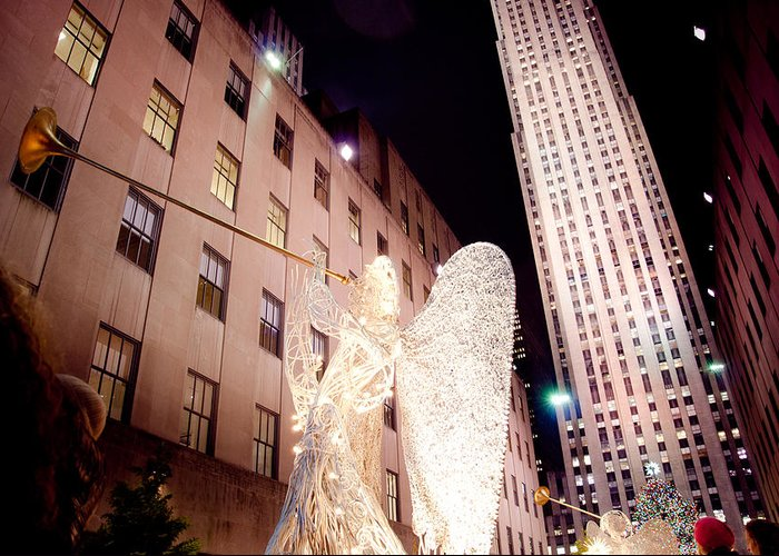 Rockefeller Angels Greeting Card featuring the photograph Rockefeller Plaza At Christmas by Heidi Reyher