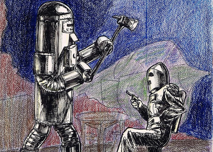 Nostalgia Greeting Card featuring the drawing Rocket Man And Robot by Mel Thompson