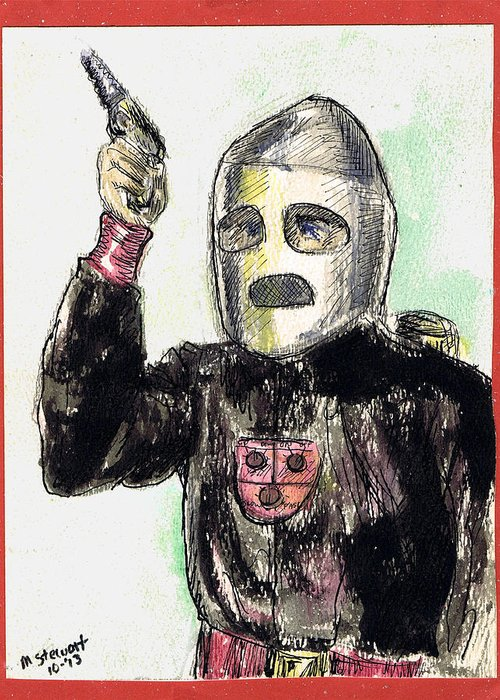 Nostalgia Greeting Card featuring the drawing Rocket Man by Mel Thompson