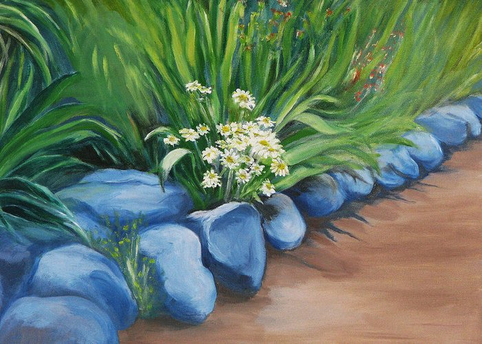 Landscape Greeting Card featuring the painting Rockgarden by Sherlyn Andersen