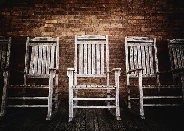 Absence Greeting Card featuring the photograph Rocking Chairs by Skip Nall