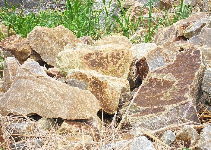 Abstract Rocks Greeting Card featuring the digital art Rocks Bonham State Park Tx by Dianna Lawson