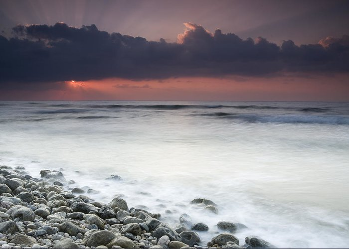 00481407 Greeting Card featuring the photograph Rocky Beach At Sunrise Hawf Protected by Sebastian Kennerknecht