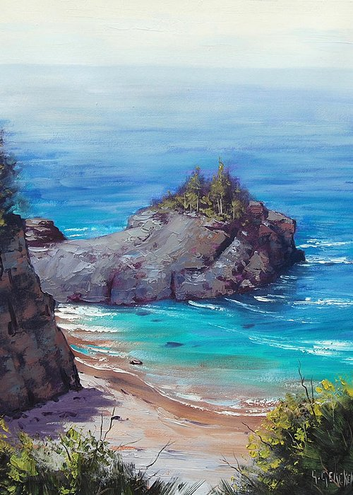 Seascape Greeting Card featuring the painting Rocky Coast Big Sur by Graham Gercken