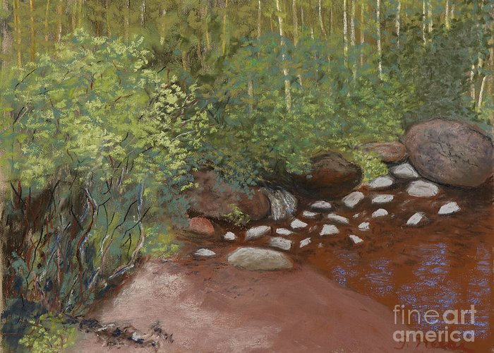 Stream Greeting Card featuring the pastel Rocky Mountain Creek by Ginny Neece