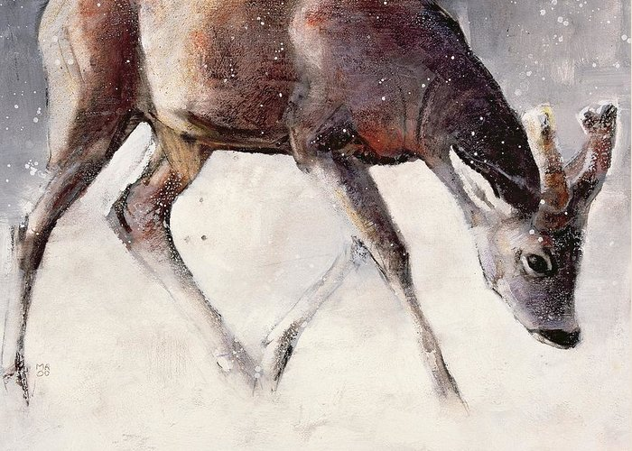 Deer; Horn; Horns; Horned; Snow; Snowing; Snowy; Mammal; Wild; Animal; Winter; Winter Time Greeting Card featuring the painting Roe Buck - Winter by Mark Adlington