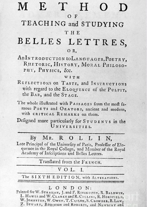 1767 Greeting Card featuring the photograph Rollin: Title Page, 1769 by Granger