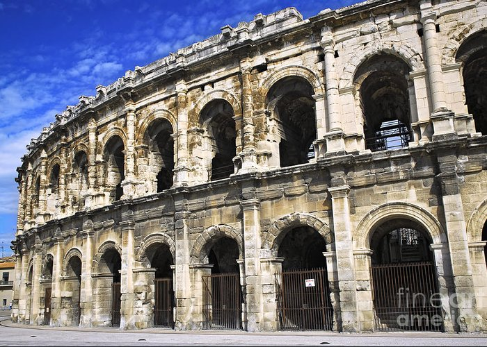 Nimes Greeting Card featuring the photograph Roman Arena In Nimes France by Elena Elisseeva