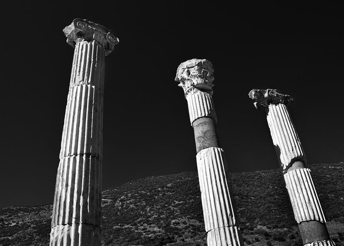 Black And White Greeting Card featuring the photograph Roman Columns. by Terence Davis
