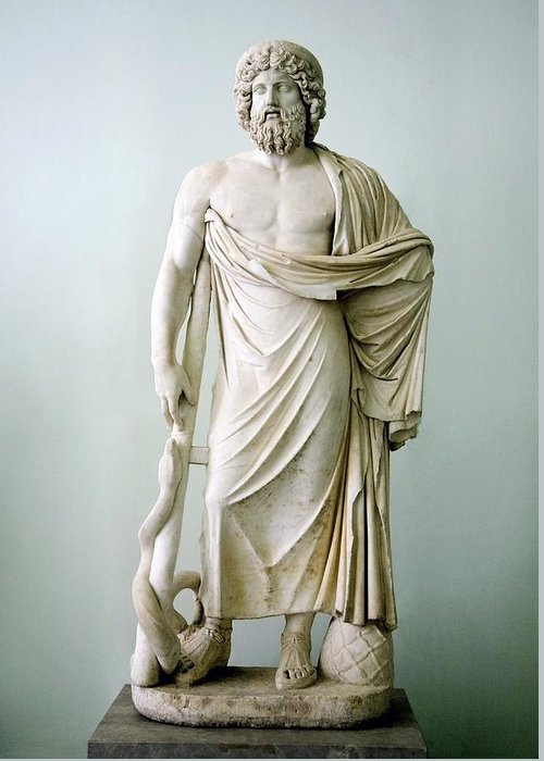 Asclepius Greeting Card featuring the photograph Roman Statue Of Asclepius by Sheila Terry