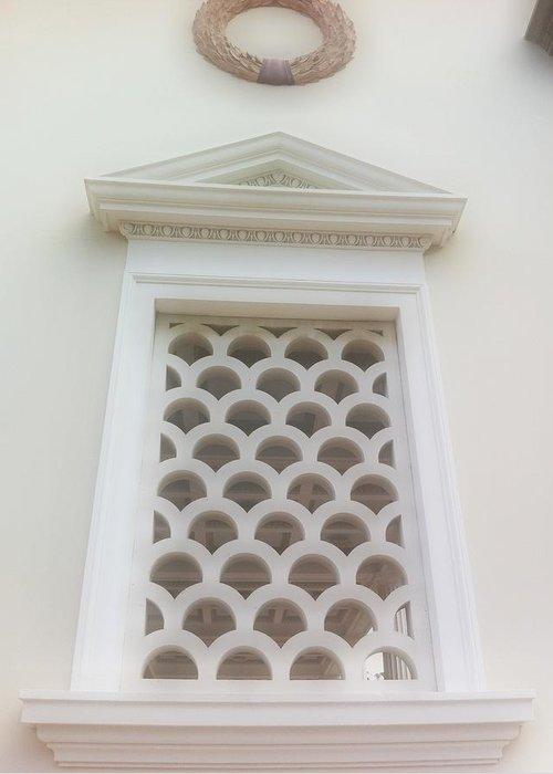 Roman Art Greeting Card featuring the photograph Roman Window Villa by Paul Washington