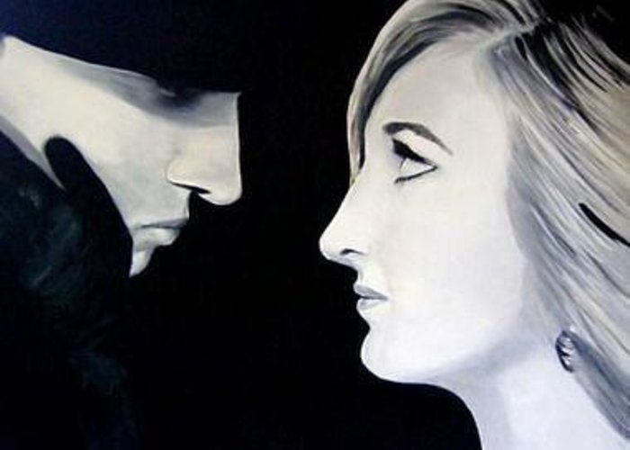 Black And White Greeting Card featuring the painting Romance by Julie Lamons