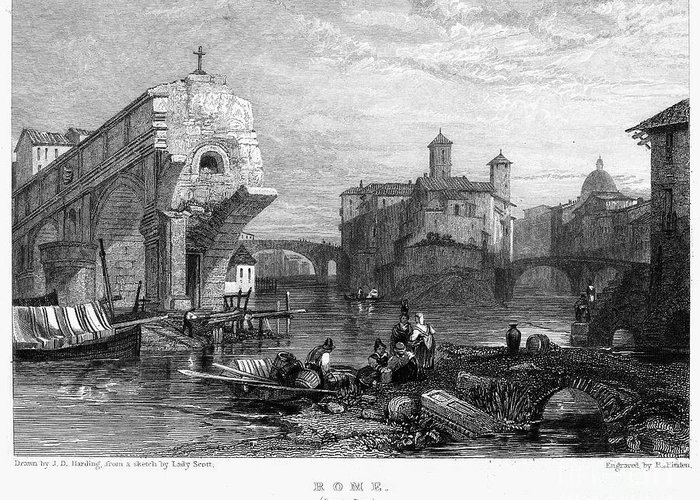 1833 Greeting Card featuring the photograph Rome: Ponte Rotto, 1833 by Granger