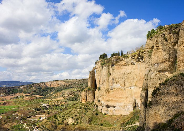 Andalucia Greeting Card featuring the photograph Ronda Cliffs In Andalusia by Artur Bogacki