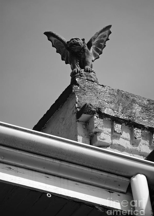 New Orleans Greeting Card featuring the digital art Rooftop Chained Gargoyle Statue Above French Quarter New Orleans Black And White by Shawn O'Brien