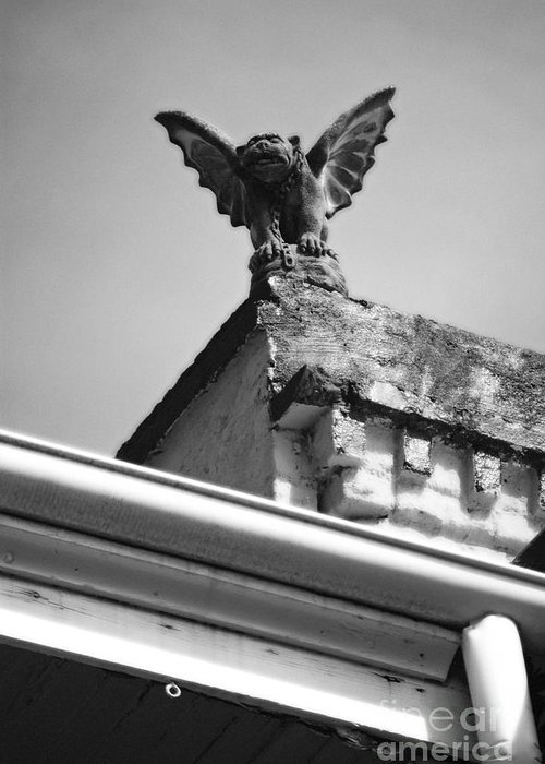 New Orleans Greeting Card featuring the digital art Rooftop Gargoyle Statue Above French Quarter New Orleans Black And White Diffuse Glow Digital Art by Shawn O'Brien