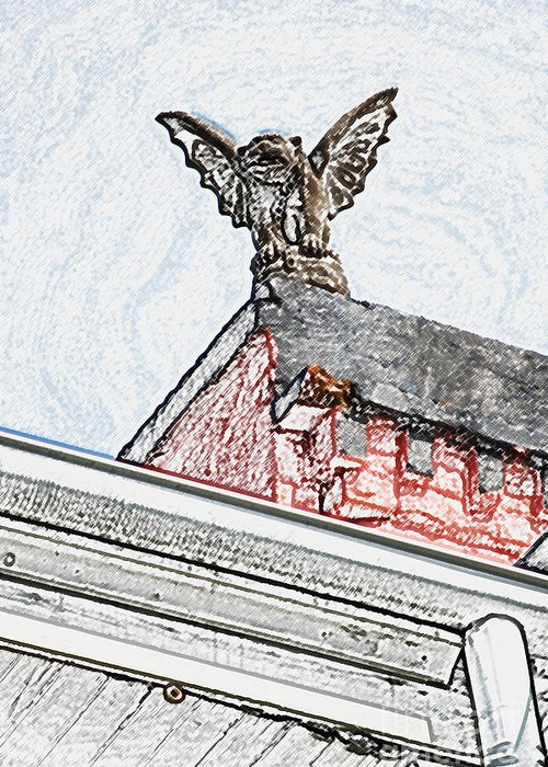 New Orleans Greeting Card featuring the digital art Rooftop Gargoyle Statue Above French Quarter New Orleans Colored Pencil Digital Art by Shawn O'Brien