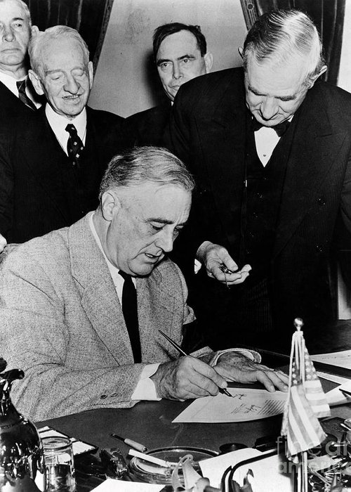 History Greeting Card featuring the photograph Roosevelt Signing Declaration Of War by Photo Researchers