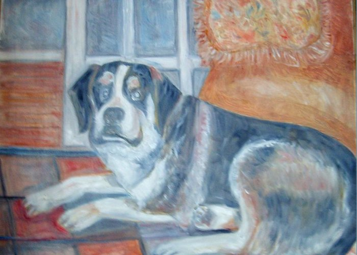 Indoor Greeting Card featuring the painting Roscoe by Joseph Sandora Jr
