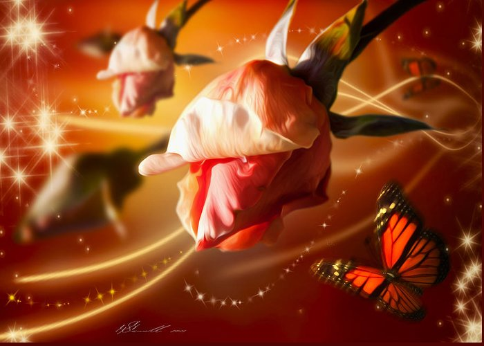 Anniversary Greeting Card featuring the digital art Rose And Butterfly by Svetlana Sewell