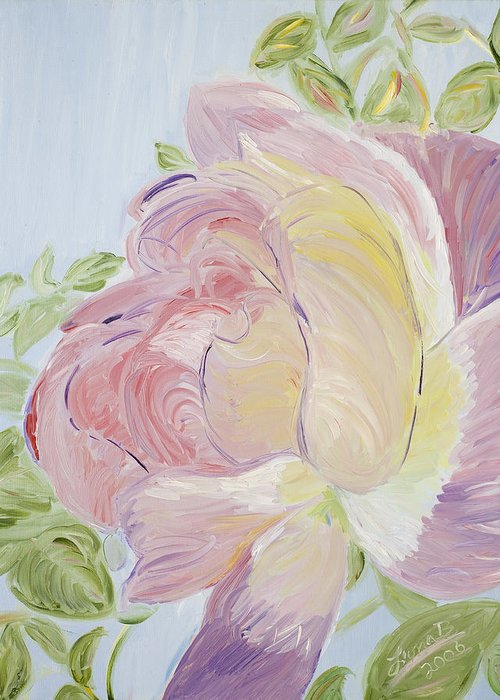 Rose Greeting Card featuring the painting Rose by Leona Bushman
