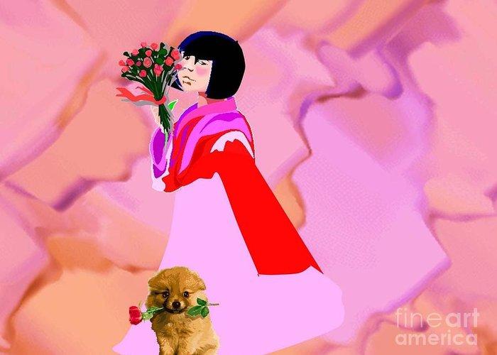 Dog Greeting Card featuring the digital art Rose Petals by Belinda Threeths